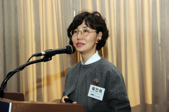 묵인희 서울대 의대 교수가 치매치료제 개발현황에 대해 설명하고있다 - 한국과학기술한림원 제공